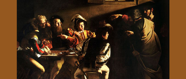 "Caravaggio - ""The Calling of Saint Matthew"" (cropped) - public domain via Wikimedia Commons"