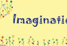 word imagination on background of flowers