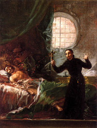 San Francisco de Borja asiste a un moribundo impenitente (boceto). Painting by Francisco de Goya.