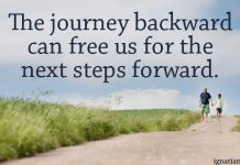 """The journey backward can free us for the next steps forward. "" - quote over picture of people walking on road"