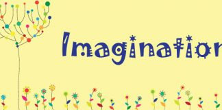 imagination - word on field of flowers