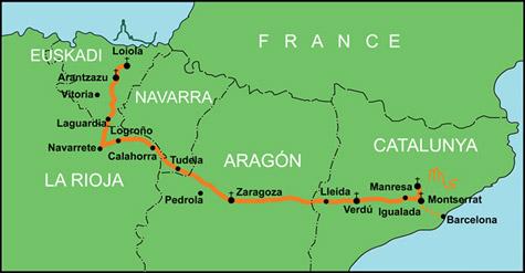 Camino Ignaciano map