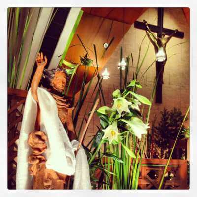 Easter decor in church