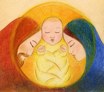 Nativity - baby Jesus with Mary and Joseph