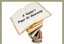 Teacher's Prayer for Generosity - stack of books