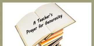 Teacher's Prayer for Generosity - stack of books