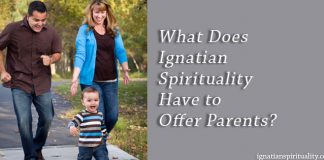 What Does Ignatian Spirituality Have to Offer Parents? - text next to picture of family in park