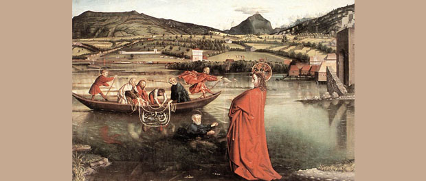 "Konrad Witz, ""The Miraculous Draft of Fishes,"" public domain via Wikimedia Commons"