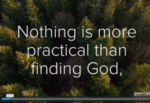 """Nothing is more practical than finding God"" - text from opening of video with words to ""Fall in Love"" prayer attributed to Fr. Pedro Arrupe, SJ"