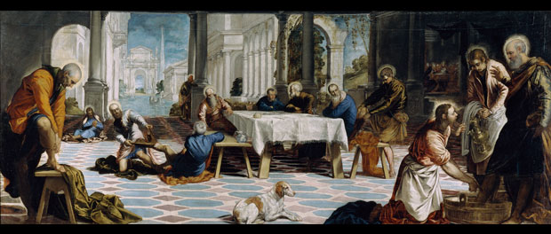 "Tintoretto, ""Christ Washing the Disciples' Feet,"" 1548–1549 via Wikimedia Commons"