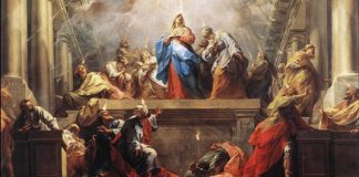 "Jean II Restout, ""Pentecost,"" public domain via Wikimedia Commons"