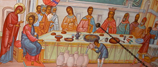 Fresco of Marriage at Cana, Annunciation Cathedral Jerusalem