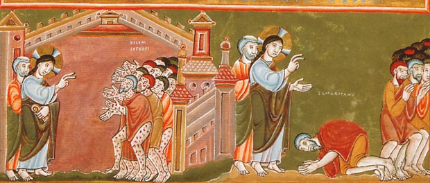 Cleansing of the Ten Lepers - Codex Aureus Epternacensis (public domain via Wikimedia Commons)