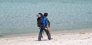 backpacking on the beach