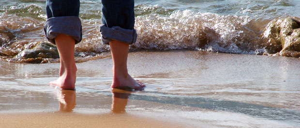wading in water