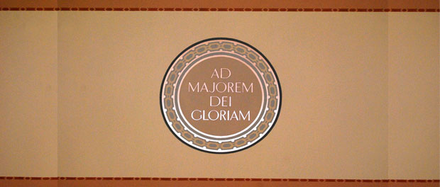 AMDG sign - Image by Eric E. Castro under (CC BY-SA 2.0) (cropped and lightened).