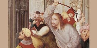 """Quentin Matsys, """"Jesus Chasing the Merchants from the Temple"""""""
