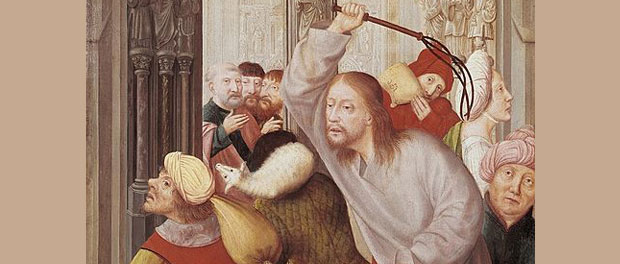 "Quentin Matsys, ""Jesus Chasing the Merchants from the Temple"""