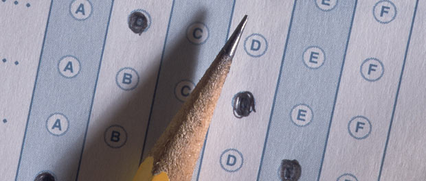 quiz or test and pencil