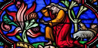 Moses in stained glass