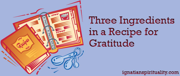 "recipe book with article title, ""Three Ingredients in a Recipe for Gratitude"""