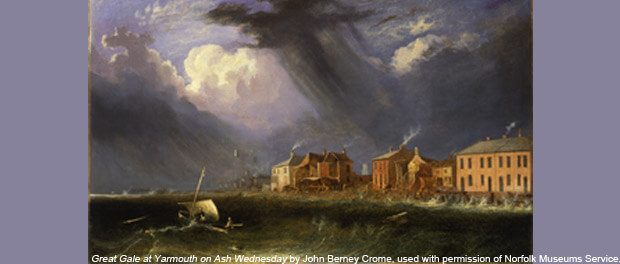 Great Gale at Yarmouth on Ash Wednesday by John Berney Crome, used with permission of Norfolk Museums Service (Norwich Castle Museum & Art Gallery)