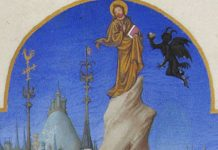 """Limbourg brothers, """"The Temptation of Christ,"""" between 1411 and 1416"""
