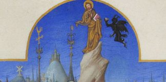 "Limbourg brothers, ""The Temptation of Christ,"" between 1411 and 1416"