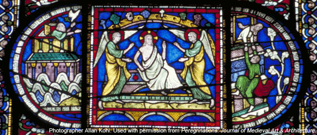 Canterbury Cathedral, detail of Redemption Window (center), Corona Chapel, East End Corona I, detail of the Resurrection of Christ, Gothic stained glass, c. 1200–1207, England. Image: Photographer Allan Kohl. Used with permission from Peregrinations: Journal of Medieval Art & Architecture.