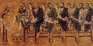 "Holy Thursday - Mosaic in Basilica di San Marco in Venice - ""Christ Washing the Feet of His Disciples"""