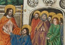 """Vaux Passional - """"The Incredulity of Thomas, Who Places His Finger in the Wound"""" - public domain"""