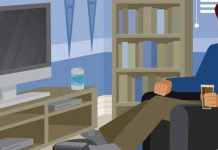 guy watching television