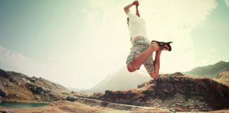 joyful man jumping