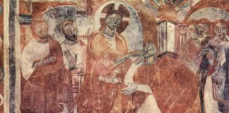 Healing of the Deaf-Mute fresco by Meister von Mustair, public domain