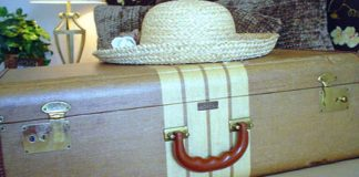 suitcase and hat