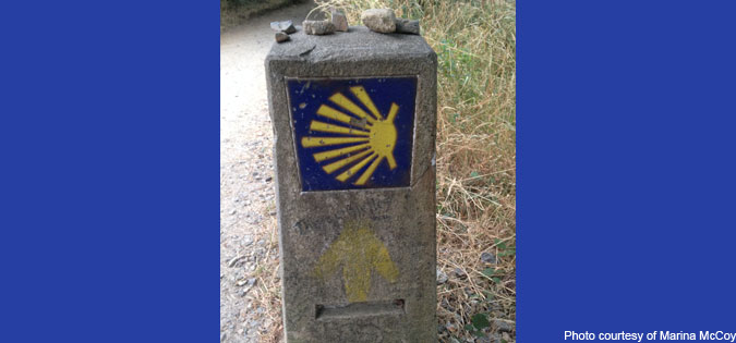 marker on the Camino de Santiago - photo courtesy of Marina McCoy