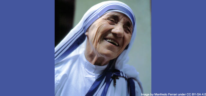 Mother Teresa of Calcutta - image by Manfredo Ferrari under CC BY-SA 4.0, via Wikimedia Commons