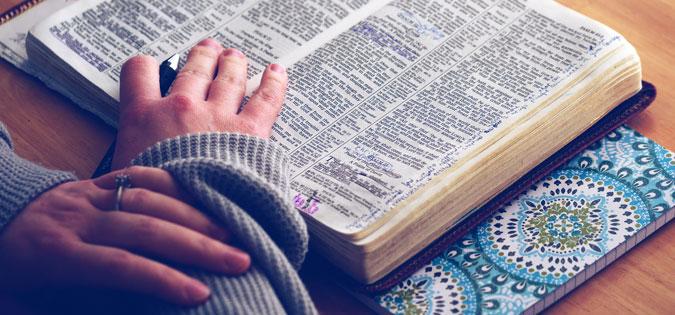 studying Bible during prayer
