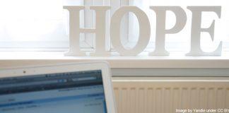 hope - letters sitting on windowsill