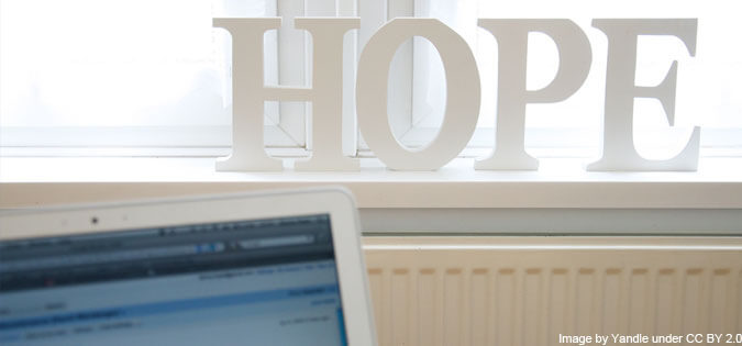 hope - letters sitting on windowsill