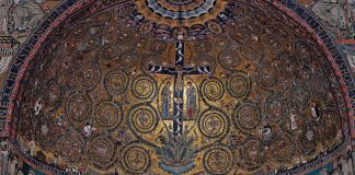 """Arts & Faith: Holy Saturday - Apsis mosaic from Basilica San Clemente in Rome - """"Triumph of the Cross"""""""