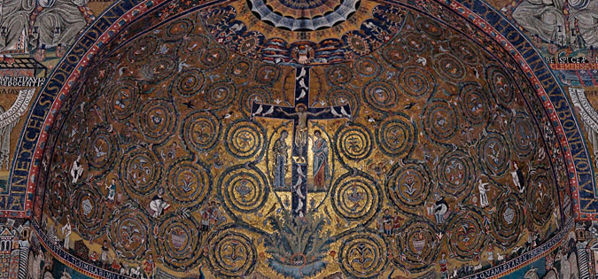 "Arts & Faith: Holy Saturday - Apsis mosaic from Basilica San Clemente in Rome - ""Triumph of the Cross"""