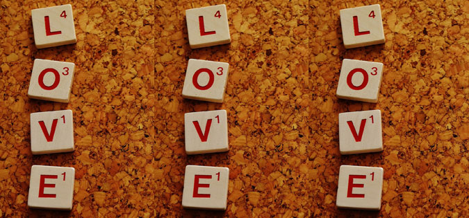 love - letters are word game tiles