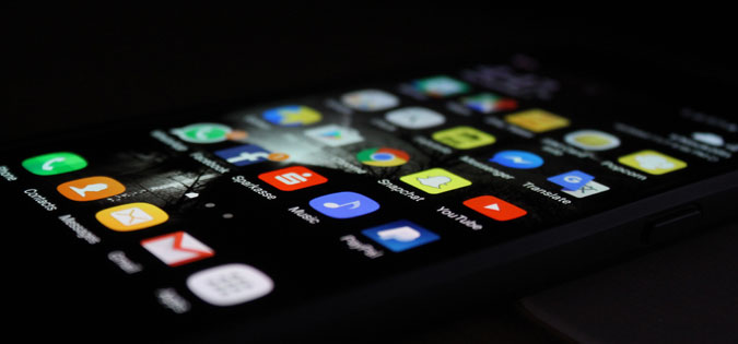 smartphone with social media apps