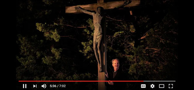 Michael Sparough, SJ, at the foot of the crucifix - video screenshot