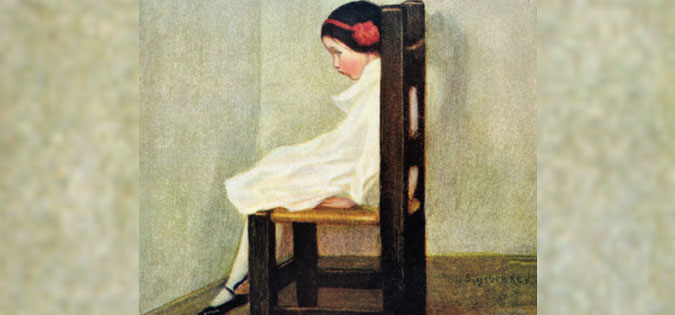 girl pouting in corner