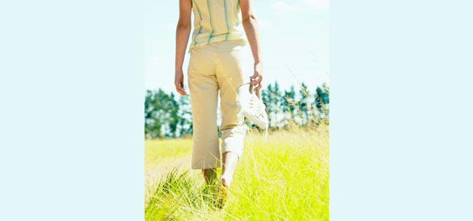 walking through grass