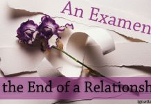 An Examen at the End of a Relationship - words next to purple flowers