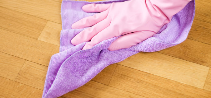 gloved hand cleaning house