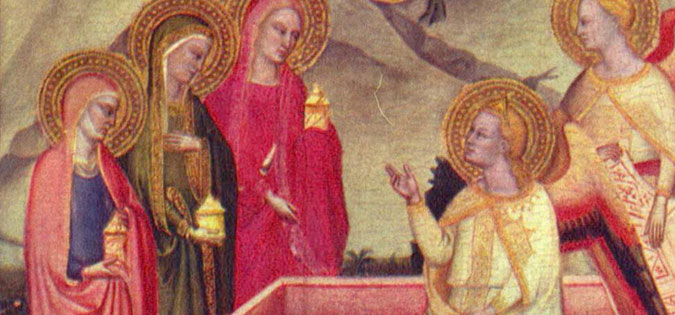 The Three Marys at the Sepulchre detail from the San Pier Maggiore Altarpiece by Jacopo di Cione